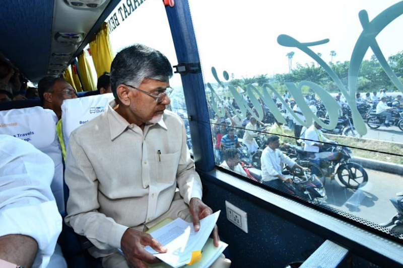 'Naidu Go Back': Farmers Throw Slippers at TDP Chief's Convoy During Amaravati Tour, Show Banners
