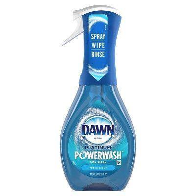 """<p><strong>Dawn</strong></p><p>target.com</p><p><strong>$4.99</strong></p><p><a href=""""https://www.target.com/p/dawn-platinum-powerwash-dish-spray-dish-soap-fresh-scent-16-fl-oz/-/A-77789611"""" rel=""""nofollow noopener"""" target=""""_blank"""" data-ylk=""""slk:Shop Now"""" class=""""link rapid-noclick-resp"""">Shop Now</a></p><p>A winner in the <a href=""""https://www.goodhousekeeping.com/home/cleaning/a32009007/good-housekeeping-cleaning-awards-2020/"""" rel=""""nofollow noopener"""" target=""""_blank"""" data-ylk=""""slk:2020 Cleaning Awards"""" class=""""link rapid-noclick-resp"""">2020 Cleaning Awards</a>, Lab analysis found that a grimy grill nor charred frying pan was a match for this cleaning spray. """"You no longer have to rely on overnight soaking on even your dirtiest pots,"""" says Redmile. """"Simply spray on, and <strong>by the time you've finished your meal, the grease and gunk is ready for a rinse or light scrub</strong>, and you're done.""""<br></p>"""