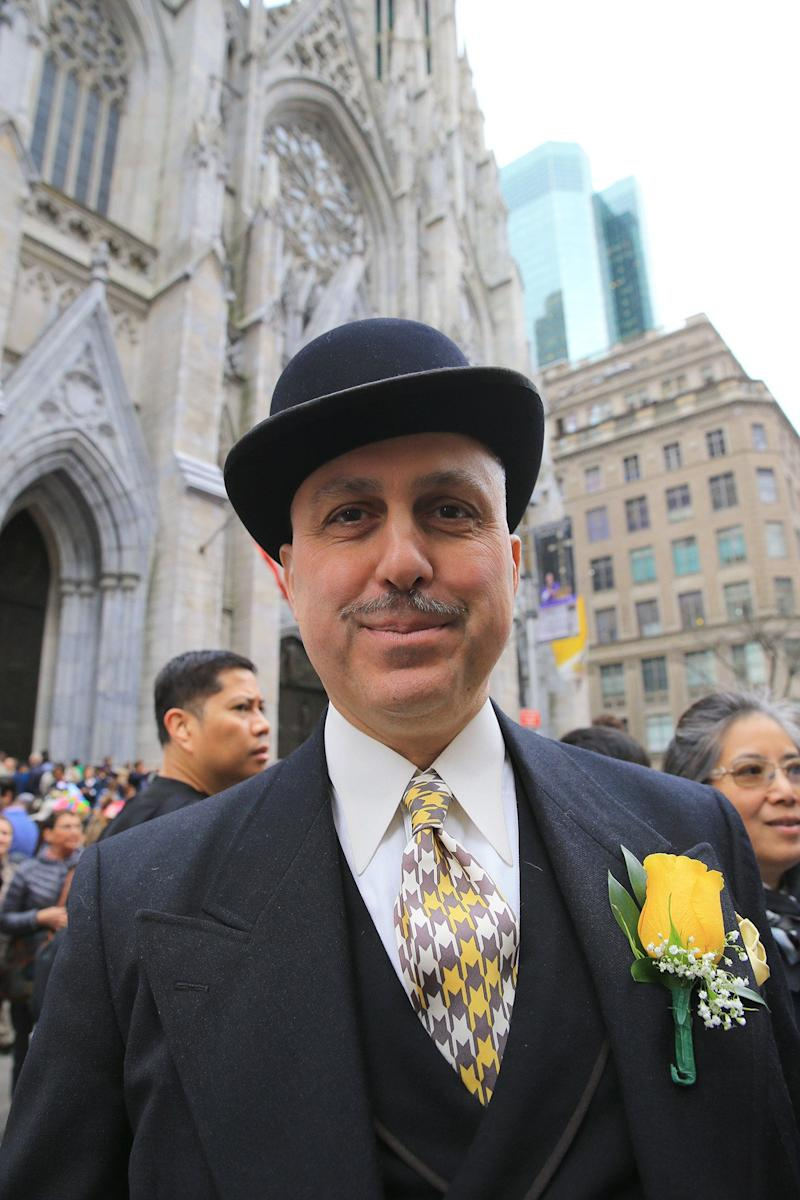 Roddy Caravella of New York City looks sharp at the Easter Parade and Bonnet Festival, Sunday, April 21, 2019, in New York. (Photo: Gordon Donovan/Yahoo News)