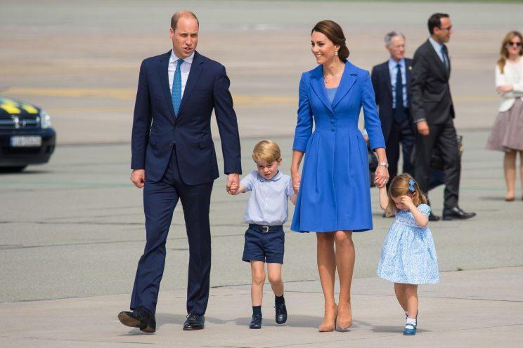 royal family matches in all blue outfits in berlin. Black Bedroom Furniture Sets. Home Design Ideas