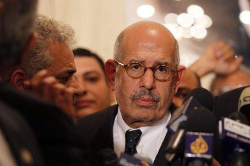 <p>Egyptian opposition leader and Nobel Prize laureate Mohamed ElBaradei. November 22, 2012, in Cairo. ElBaradei has warned of chaos in the troubled nation if parliamentary polls go ahead in April, as protesters demonstrated in Cairo against Islamist President Mohamed Morsi.</p>