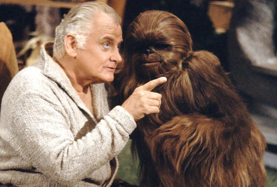 Art Carney and Chewbacca's kid, Lumpy on the set of the <em>Star Wars Holiday Special</em> (Photo by CBS via Getty Images)