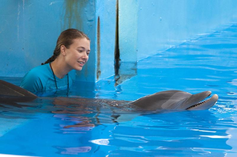 "Austin Highsmith is seen here in the role of Phoebe in Alcon Entertainment's family adventure, ""Dolphin Tale"",  in the   Warner Bros. Pictures release. ""Dolphin Tale"" dethroned ""The Lion King"" in the weekend box office. The ""Dolphin Tale"" held up well with $14.2 million in it's  second weekend to take the #1 spot from the ""Lion King"", the Disney reissue that had been at the top of the past two weekends.  (AP Photo/Jon Farmer, Alcon Entertainment)"