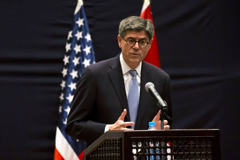 U.S. Treasury Secretary Lew addresses reporters during a joint news conference with Egypt's Finance Minister Dimian in Cairo