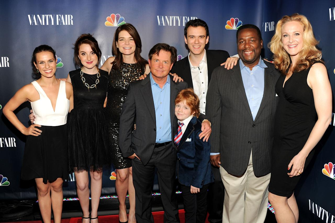 "NEW YORK, NY - SEPTEMBER 16: (L-R) Cast members of ""The Michael J. Fox Show"" Ana Nogueira, Juliette Goglia, Michael J. Fox, Jack Gore, Conor Romero, Wendell Pierce and Katie Finneran attend NBC's 2013 Fall Launch Party Hosted By Vanity Fair at The Standard Hotel on September 16, 2013 in New York City. (Photo by Ben Gabbe/Getty Images)"
