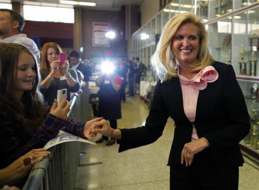Ann Romney greets audience members at a campaign stop at Brookwood High School in Snellville, Georgia March 4, 2012.