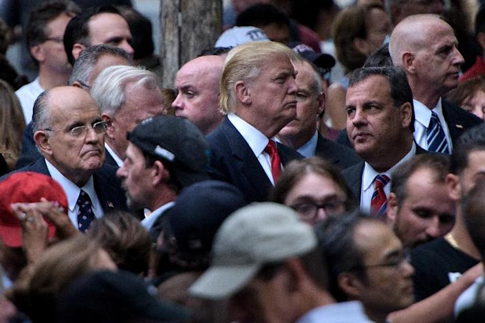 L-R: Former New York City Mayor Rudy Giuliani, Republican presidential nominee Donald Trump and New Jersey Governor Chris Christie stand together at the National 9/11 Memorial (AFP Photo/Brendan Smialowski)