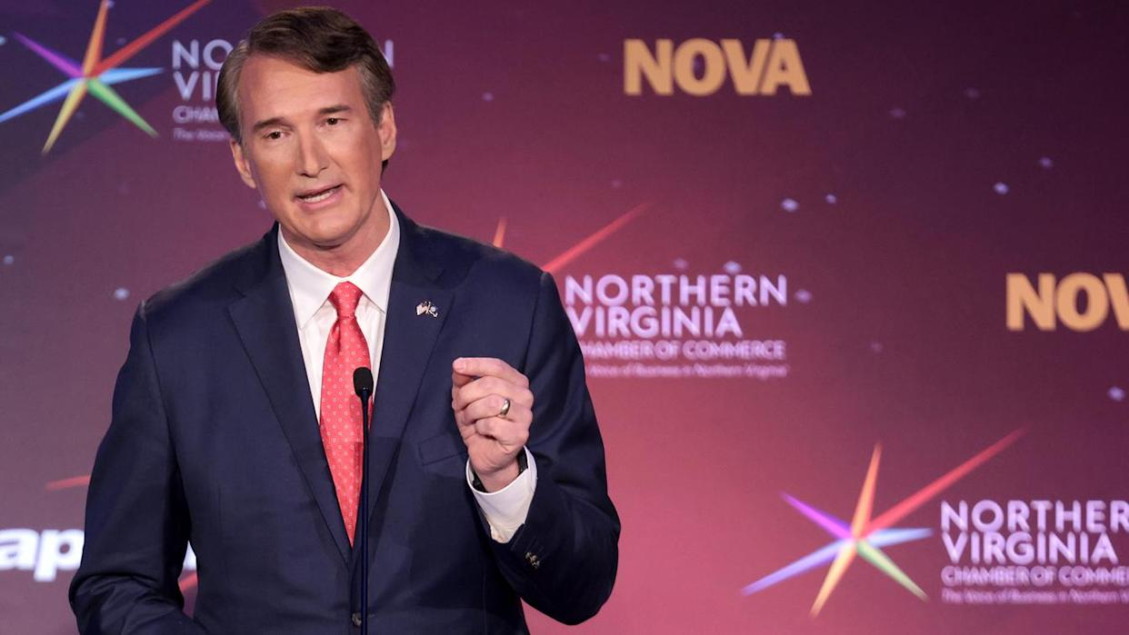 Republican gubernatorial candidate Glenn Youngkin debates former Virginia Gov. Terry McAuliffe hosted by the Northern Virginia Chamber of Commerce September 28, 2021 in Alexandria, Virginia. The gubernatorial election is November 2. (Win McNamee/Getty Images)