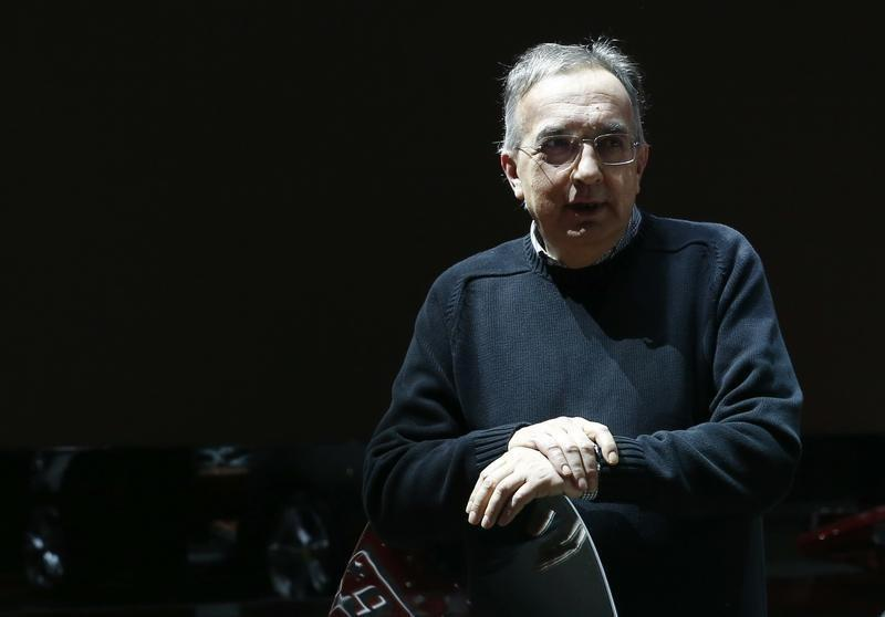 Marchionne, CEO of Fiat Chrysler, gestures at the 86th International Motor Show in Geneva