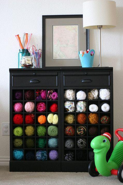 """<p>If you're more likely to curl up with knitting needles than a glass of red, trade out bottles for colorful skeins with this cozy storage solution.</p><p><a href=""""http://prudentbaby.com/2010/02/prudent-home/wine-rack-as-yarn-storage-2/"""" rel=""""nofollow noopener"""" target=""""_blank"""" data-ylk=""""slk:See more at Pretty Prudent »"""" class=""""link rapid-noclick-resp""""><em>See more at Pretty Prudent »</em></a></p>"""