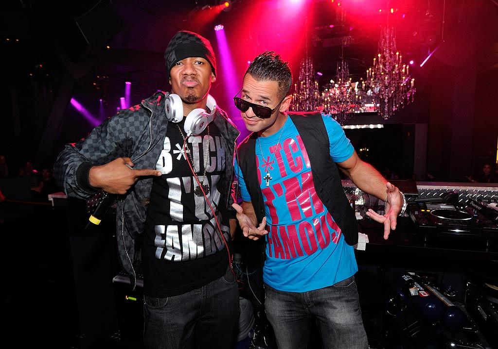 """Mr. Mariah Carey, Nick Cannon, and """"Jersey Shore's"""" Mike """"The Situation"""" Sorrentino donned matching obnoxious T-shirts on Saturday while Nick spun tracks and The Sitch partied at the Chateau Nightclub & Gardens at Paris resort in Las Vegas. Think the ladies there fell for The Situation's suave ways? David Becker/<a href=""""http://www.wireimage.com"""" target=""""new"""">WireImage.com</a> - August 13, 2011"""