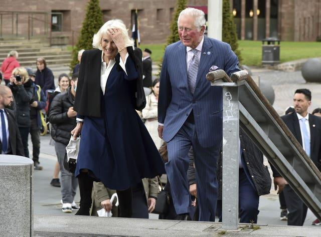 The Prince of Wales and the Duchess of Cornwall during their visit to Herbert Art Gallery and Museum in Coventry