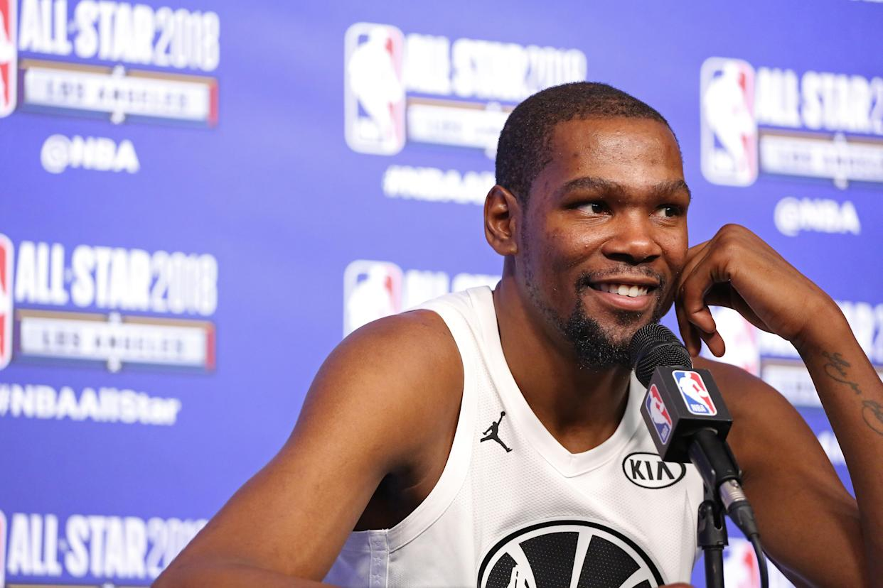 Kevin Durant at NBA All-Star weekend. (Getty)