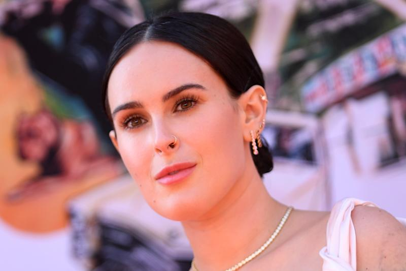 "US actress Rumer Willis arrives for the premiere of Sony Pictures' ""Once Upon a Time... in Hollywood"" at the TCL Chinese Theatre in Hollywood, California on July 22, 2019. (Photo by VALERIE MACON / AFP) (Photo credit should read VALERIE MACON/AFP/Getty Images)"