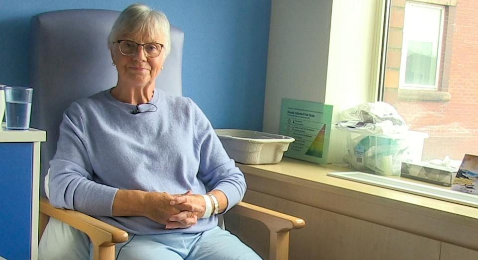 Jan Ritson, 71, had part of her leg removed and transferred to a separate hospital for treatment (SWNS)
