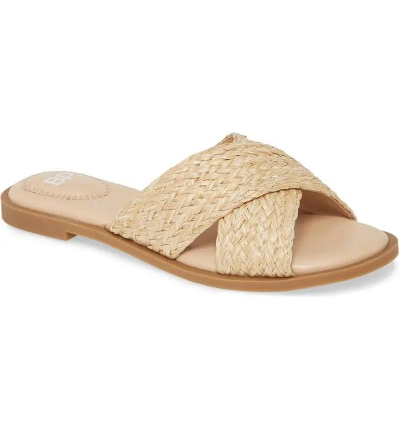 <p>These <span>BP. Winnie Woven Flat Slide Sandals</span> ($50) give us summer vibes.</p>