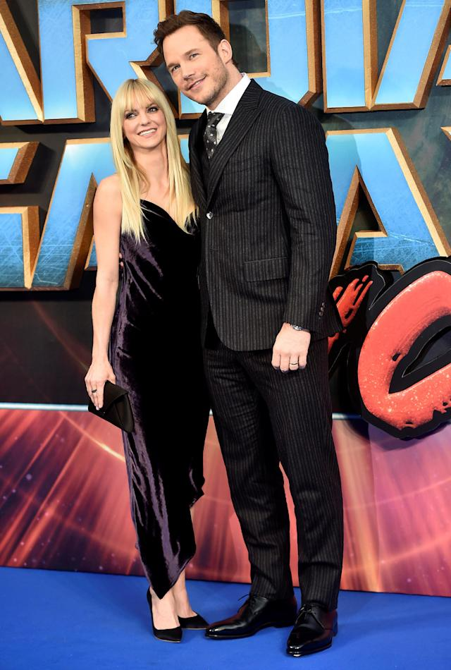 """Anna Faris and Chris Pratt at the premiere of """"Guardians of the Galaxy Vol. 2"""" in London on April 24. (Hannah Mckay / Reuters)"""