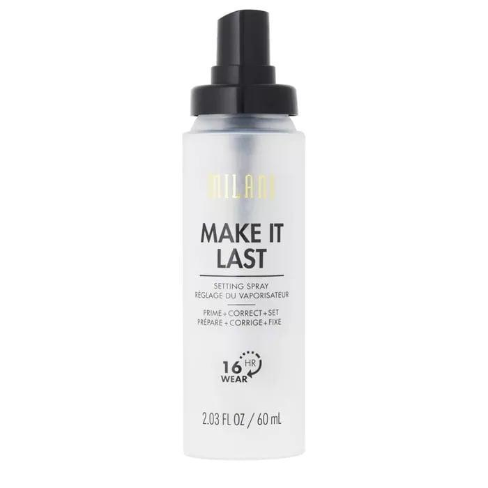 <p>This <span>Milani Make It Last Prime + Correct + Set Makeup Setting Spray</span> ($9) is a 3-in-1 product that not only sets your makeup for up to 16 hours, but also hydrates your skin and gives you a super dewy glow.</p>