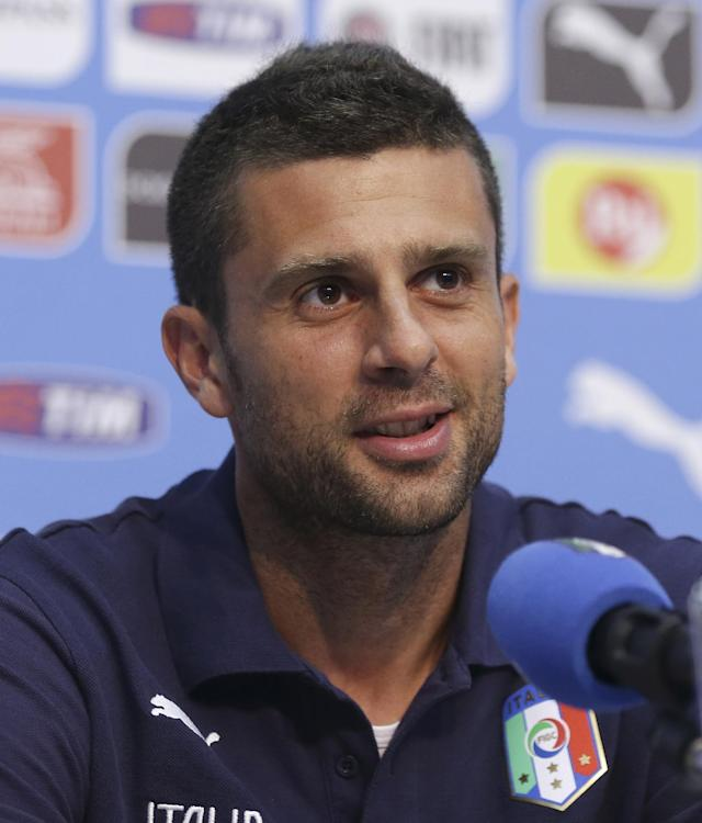 Italy's Thiago Motta speaks during a press conference at the Casa Azzurri in Mangaratiba, Brazil, Wednesday, June 18, 2014. Italy play in group D of the Brazil 2014 soccer World Cup. (AP Photo/Antonio Calanni)