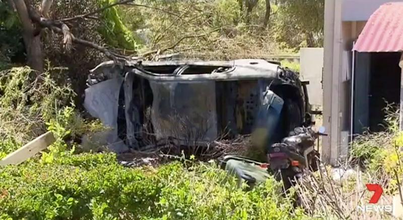 The car was a burnt-out wreck after the crash. Source: 7 News