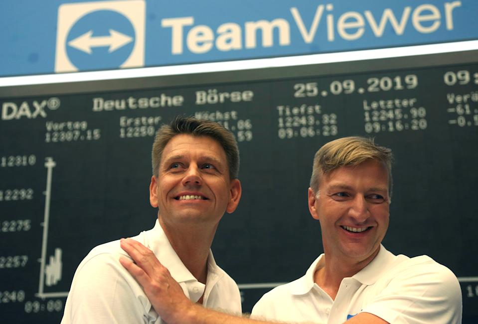 Oliver Steil, Chief Executive Officer of software company TeamViewer AG and Stefan Gaiser, Chief Financial Officer of TeamViewer attend TeamViewer's initial public offering (IPO) at the Frankfurt Stock Exchange in Frankfurt, Germany, September 25, 2019. REUTERS/Ralph Orlowski