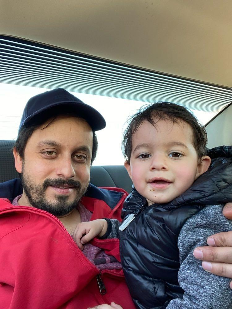 Tasbir Singh, 32, of Windsor, Ontario, poses in this February 2021 photo with his son.