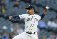 Seattle Mariners starter Justus Sheffield winds up during the fourth inning of the team's baseball game against the Minnesota Twins, Wednesday, June 16, 2021, in Seattle. (AP Photo/Stephen Brashear)