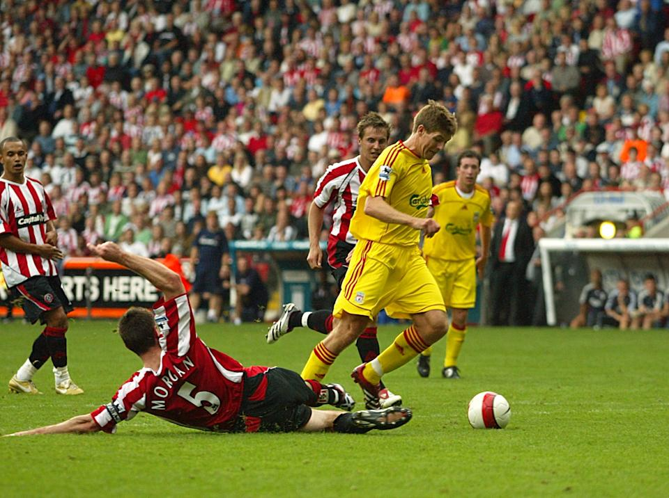 Liverpool are awarded a penalty which allows them to share the points. Replays show there may not have been any contact. (19 August 2006)