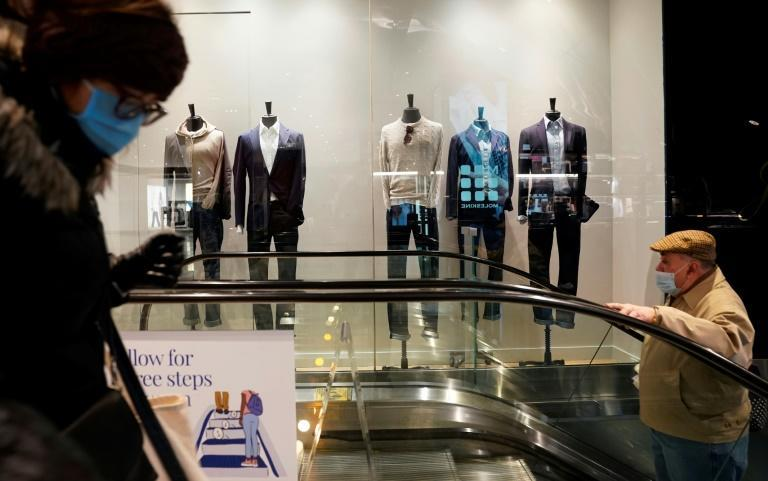 Casual men's outfits on display in a store in New York on 15 February 2021