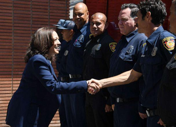 Vice President Kamala Harris meets firefighters at LAFD Fire Station 19 in the Brentwood neighborhood of Los Angeles, California on July 4, 2021. (Robyn Beck/POOL/AFP via Getty Images)
