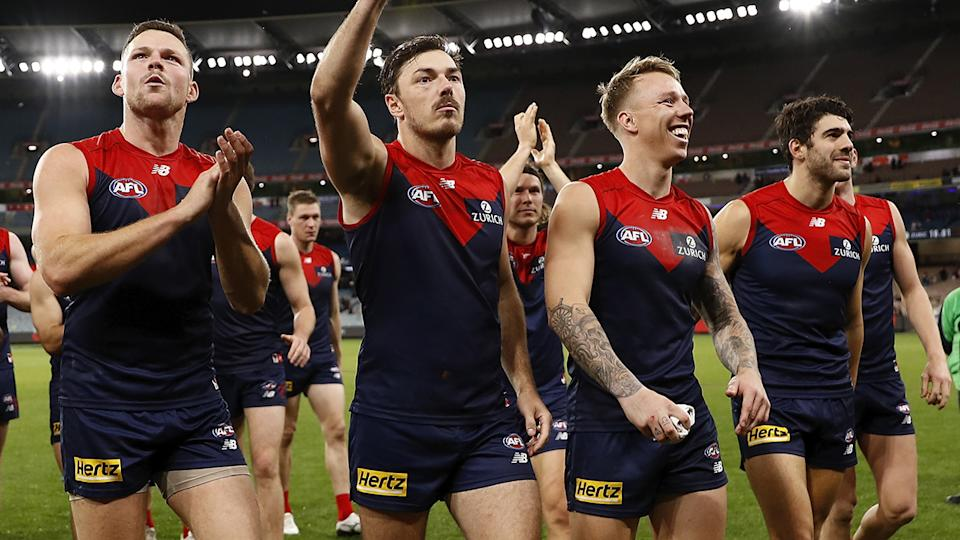 Melbourne have gotten away to an impressive 9-0 start to start the 2021 season. (Photo by Dylan Burns/AFL Photos via Getty Images)