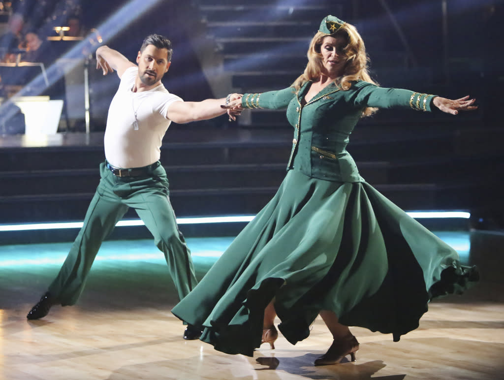 "Maksim Chmerkovskiy and Kirstie Alley perform on ""Dancing With the Stars: All-Stars."""