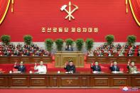 KCNA image of North Korean leader Kim Jong Un at the 8th Congress of the Workers' Party in Pyongyang