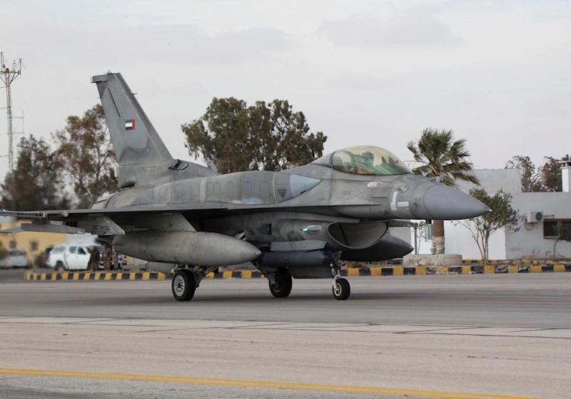 A United Arab Emirates (UAE) F-16 fighter is seen arriving at one of Jordan's air bases to support strikes against the Islamic State group, in a picture released by the official Jordanian news agency, PETRA, on February 8, 2015
