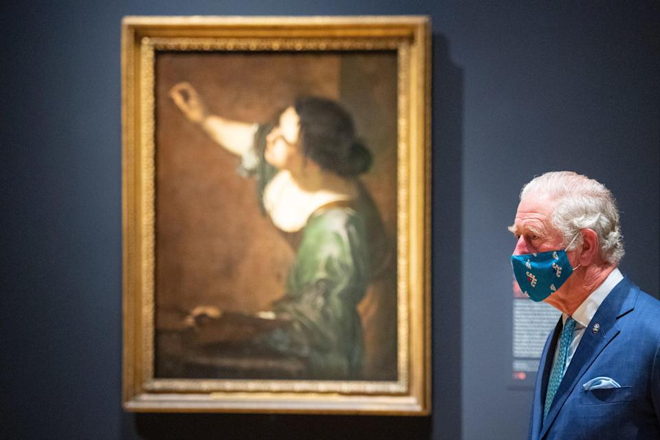 The Prince of Wales is seen with 'Self Portrait as the Allegory of Painting (La Pittura)' by Artemisia Gentileschi (PA)