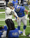 New Orleans Saints defensive end Trey Hendrickson (91) reacts after sacking Detroit Lions quarterback Matthew Stafford (9) during the first half of an NFL football game, Sunday, Oct. 4, 2020, in Detroit. (AP Photo/Jose Juarez)
