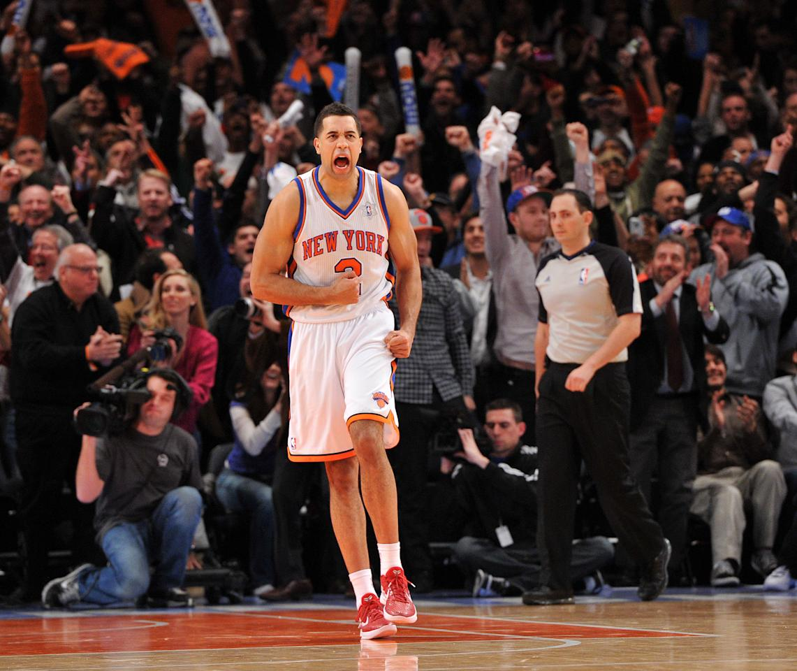 NEW YORK, NY - DECEMBER 25: Landry Fields #2 of the New York Knicks reacts after defeating the Boston Celtics at Madison Square Garden on December 25, 2011 in New York City. NOTE TO USER: User expressly acknowledges and agrees that, by downloading and or using this photograph, User is consenting to the terms and conditions of the Getty Images License Agreement. (Photo by Christopher Pasatieri/Getty Images)