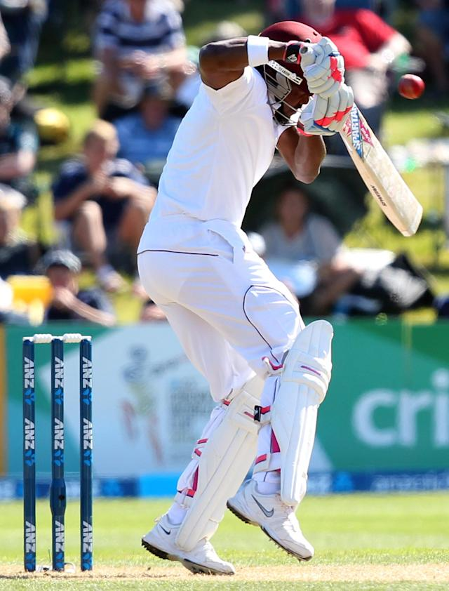 DUNEDIN, NEW ZEALAND - DECEMBER 04: Darren Bravo of the West Indies attempts to avoid a bouncer while batting during day two of the first test match between New Zealand and the West Indies at University Oval on December 4, 2013 in Dunedin, New Zealand. (Photo by Rob Jefferies/Getty Images)