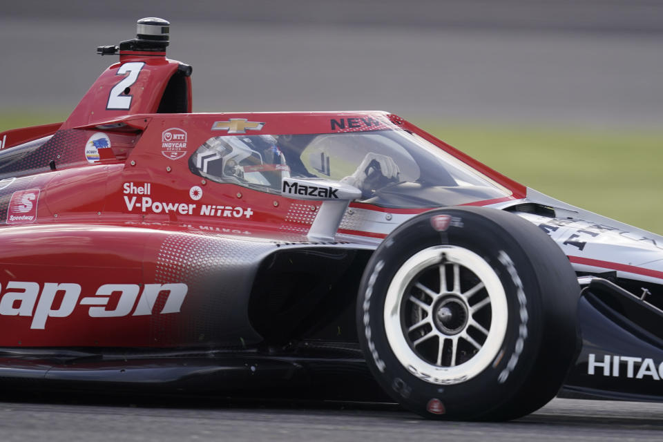 Josef Newgarden drives during qualifications for the IndyCar auto race at Indianapolis Motor Speedway, Friday, May 14, 2021, in Indianapolis. (AP Photo/Darron Cummings)