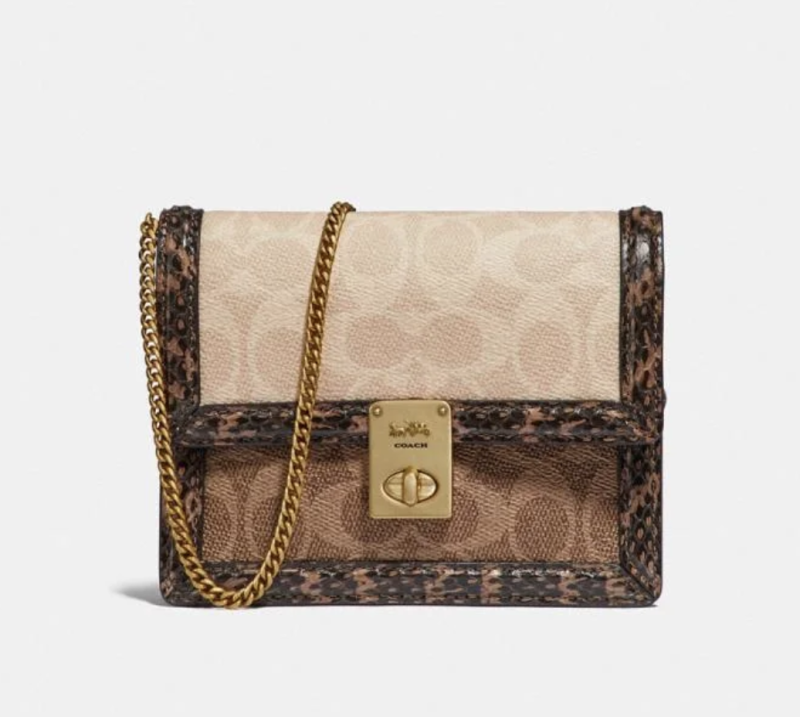 Hutton Belt Bag In Blocked Signature Canvas With Snakeskin Detail. Image via Coach.