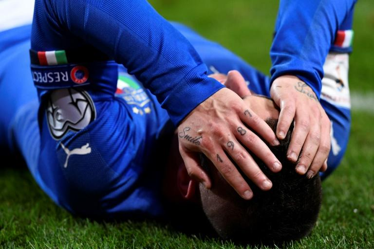 Italy's Marco Verratti holds his head during a World Cup 2018 qualification match against Sweden in Solna,Sweden on November 10, 2017