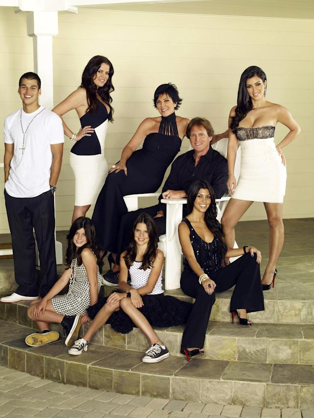 <em>Keeping Up With the Kardashians</em> Season 1, 2007 (back row, from left): Robert Kardashian Jr., Khloé Kardashian, Kris Jenner, Bruce Jenner, Kim Kardashian; (front): Kylie Jenner, Kendall Jenner, Kourtney Kardashian. (Photo: © E! Network/Courtesy: Everett Collection)