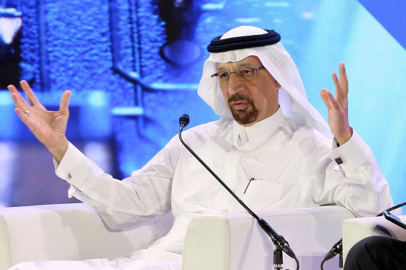 FILE PHOTO: Saudi Minister of Energy Khalid al-Falih speaks during financial sector conference in Riyadh