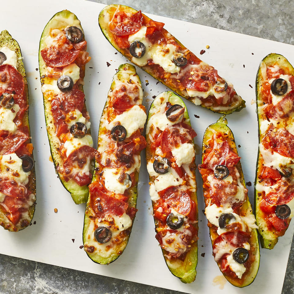 <p>Turkey pepperoni, olives and diced tomato fill these stuffed zucchini boats. Ricotta and melted mozzarella cheese make this a fun twist on pizza without all the carbs.</p>