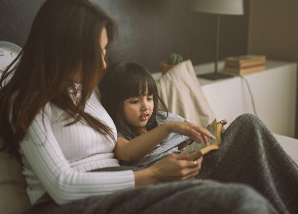 """<p><a href=""""https://www.redbookmag.com/life/mom-kids/advice/a6702/reading-strategies-for-kids/"""" rel=""""nofollow noopener"""" target=""""_blank"""" data-ylk=""""slk:Reading"""" class=""""link rapid-noclick-resp"""">Reading</a> with your children is an entertaining and educationally enriching way to spend some quality time together. Uniting both of your reading powers presents an opportunity to take on more challenging books. You can switch off reading after every chapter, page, or panel—if you prefer comic books. If you're feeling especially powerful, work together to write your own!</p>"""