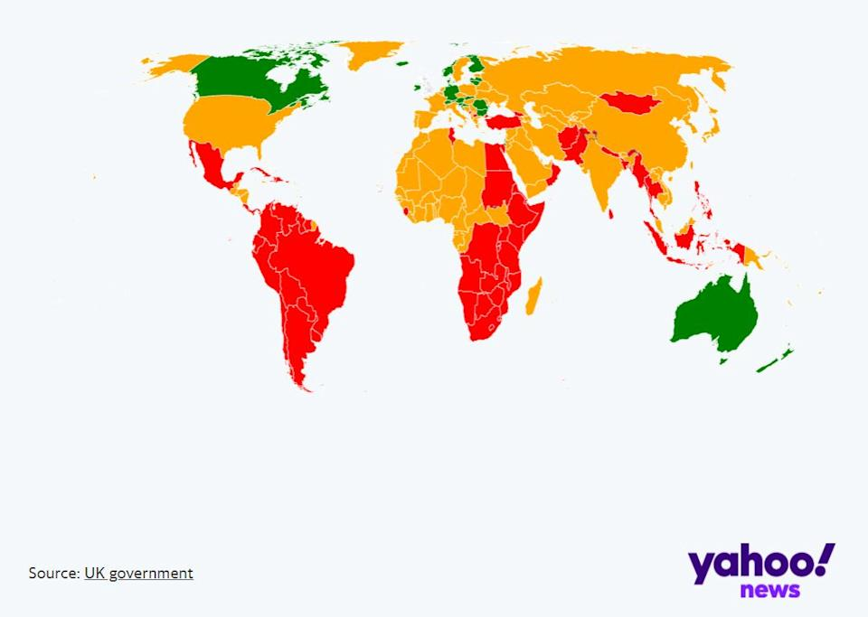The world map illustrates which countries are on which list in the UK government's traffic light system (yahoo news uk)