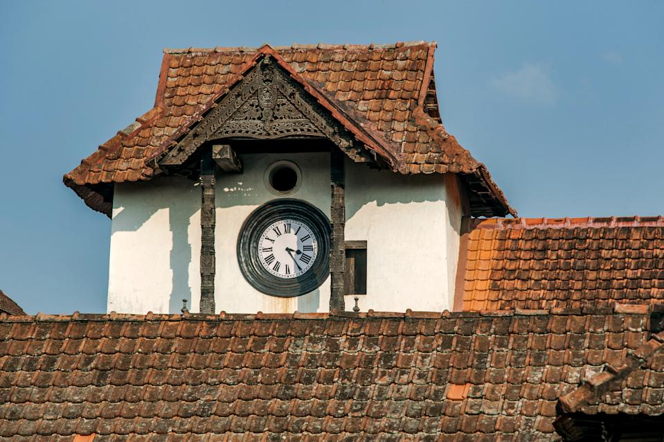 17-Jan-2013-CLOCK TOWER and indian roof tail-Padmanabhapuram wooden palace complex-20km from Nagercoil Tamil Nadu, India