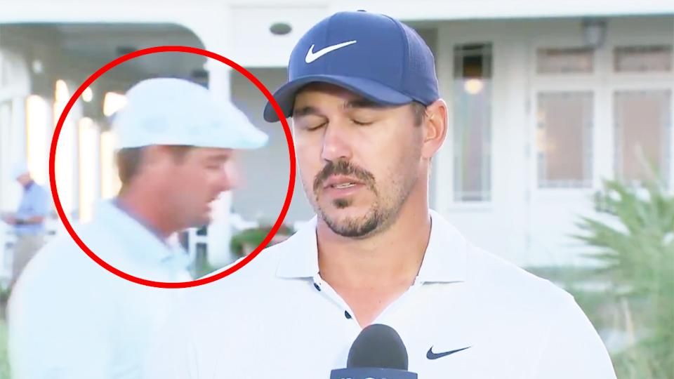 Brooks Koepka (pictured right) closes his eyes in frustration during an interview due to Bryson DeChambeau (pictured left).
