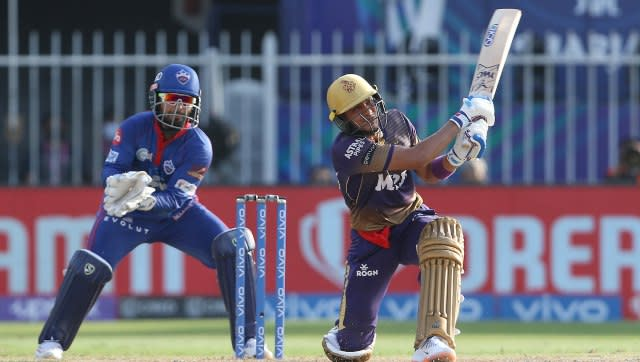 Shubman Gill of Kolkata Knight Riders plays a shot during match 41 of the Vivo Indian Premier League between the KOLKATA KNIGHT RIDERS and the DELHI CAPITALS held at the Sharjah Cricket Stadium, Sharjah in the United Arab Emirates on the 28th September 2021 Photo by Rahul Gulati / Sportzpics for IPL