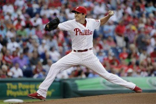 Philadelphia Phillies' John Lannan pitches during the first inning of a baseball game against the Washington Nationals, Monday, July 8, 2013, in Philadelphia. (AP Photo/Matt Slocum)